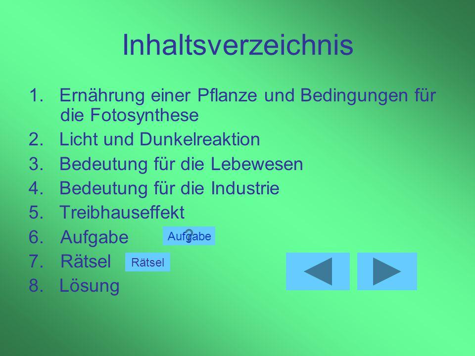 Inhaltsverzeichnis 1. Ernährung einer Pflanze und Bedingungen für die Fotosynthese. 2. Licht und Dunkelreaktion.