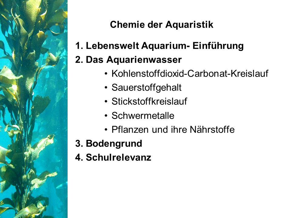 Chemie der Aquaristik 1. Lebenswelt Aquarium- Einführung. 2. Das Aquarienwasser. Kohlenstoffdioxid-Carbonat-Kreislauf.