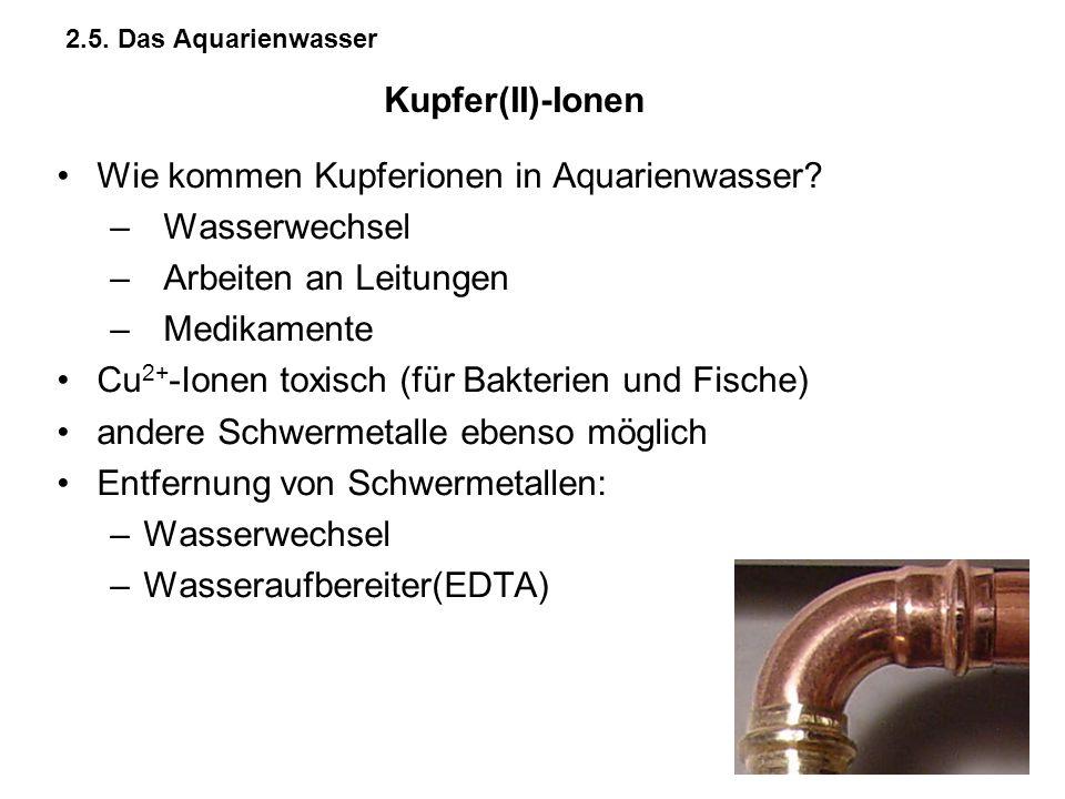Wie kommen Kupferionen in Aquarienwasser Wasserwechsel
