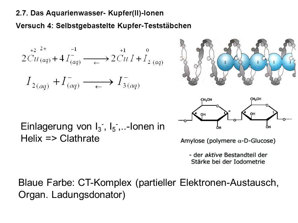 Einlagerung von I3-, I5-,..-Ionen in Helix => Clathrate