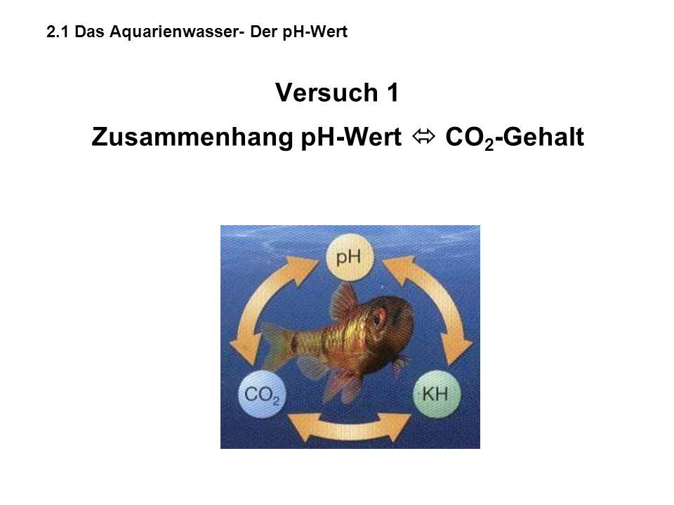 Versuch 1 Zusammenhang pH-Wert  CO2-Gehalt