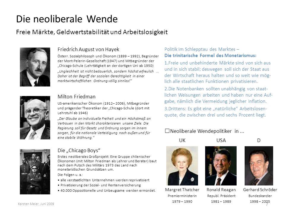 Die neoliberale Wende Freie Märkte, Geldwertstabilität und Arbeitslosigkeit. Friedrich August von Hayek.