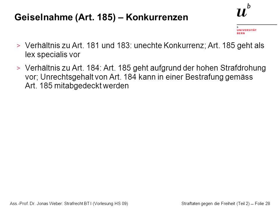 Geiselnahme (Art. 185) – Konkurrenzen
