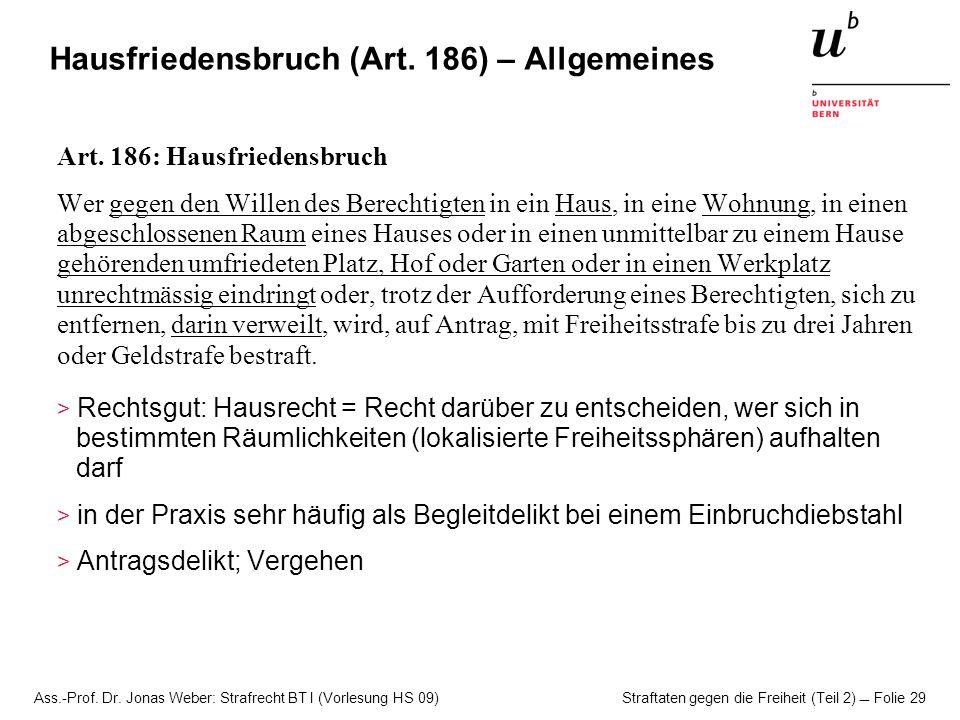 Hausfriedensbruch (Art. 186) – Allgemeines