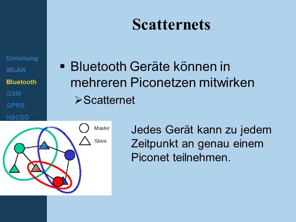 Scatternets Bluetooth Geräte können in mehreren Piconetzen mitwirken
