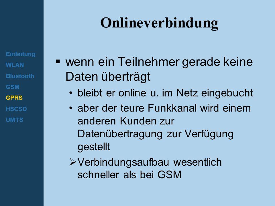 Onlineverbindung wenn ein Teilnehmer gerade keine Daten überträgt