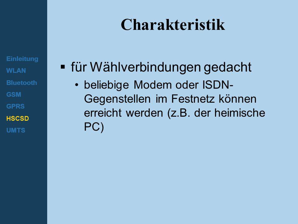 Charakteristik für Wählverbindungen gedacht