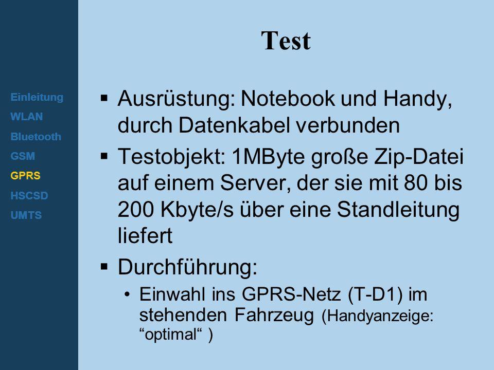 Test Ausrüstung: Notebook und Handy, durch Datenkabel verbunden