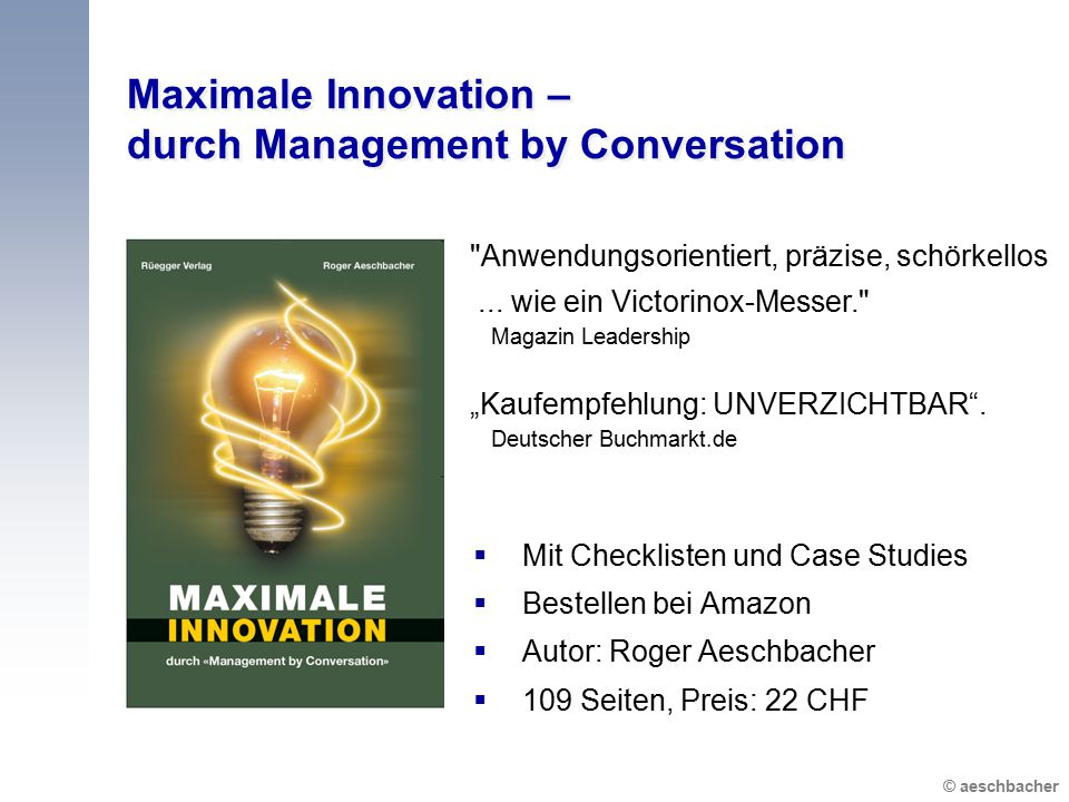 Maximale Innovation – durch Management by Conversation