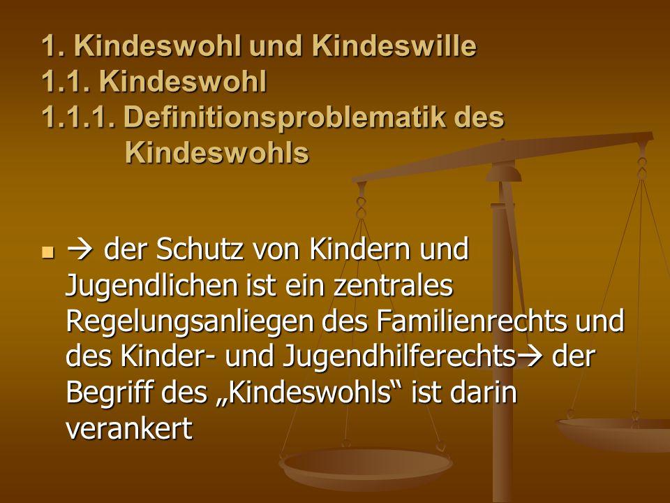 1. Kindeswohl und Kindeswille 1. 1. Kindeswohl 1. 1. 1