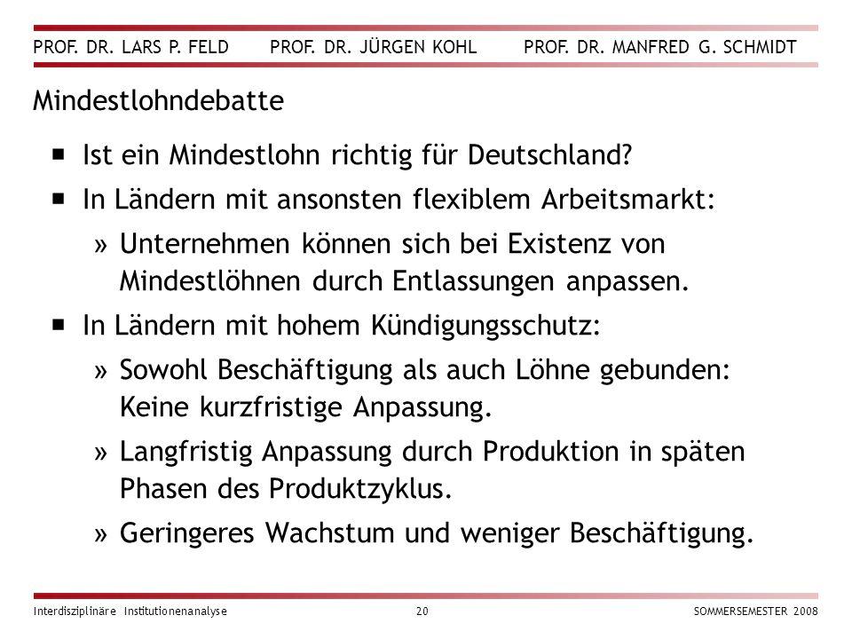 Ist ein Mindestlohn richtig für Deutschland