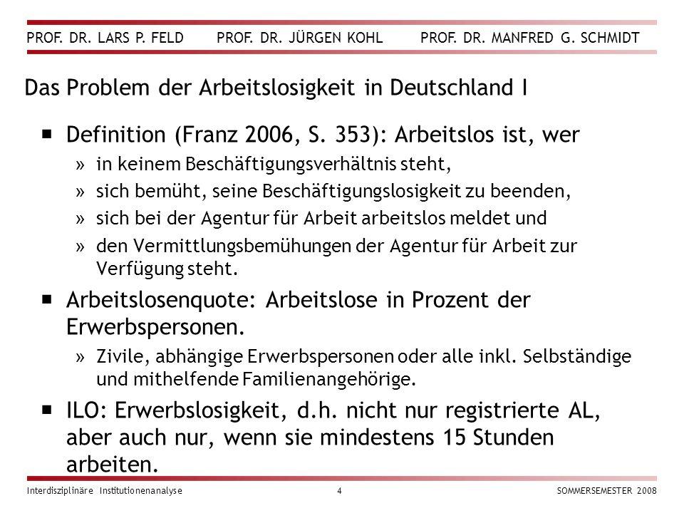 Das Problem der Arbeitslosigkeit in Deutschland I