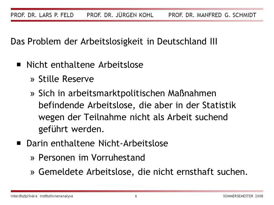 Das Problem der Arbeitslosigkeit in Deutschland III