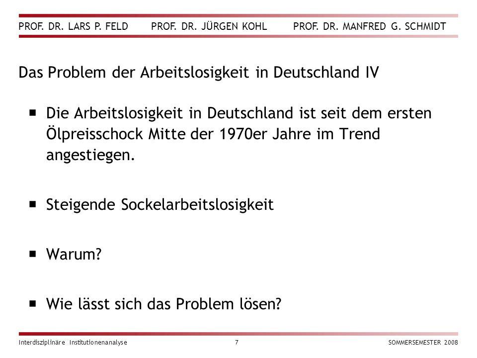 Das Problem der Arbeitslosigkeit in Deutschland IV