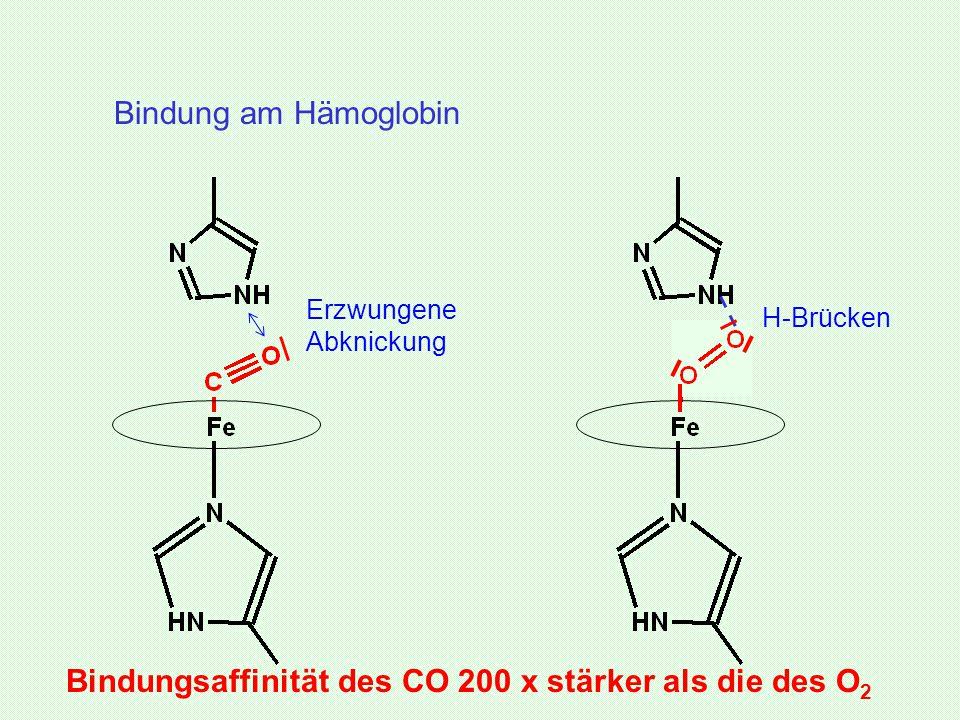 Bindungsaffinität des CO 200 x stärker als die des O2