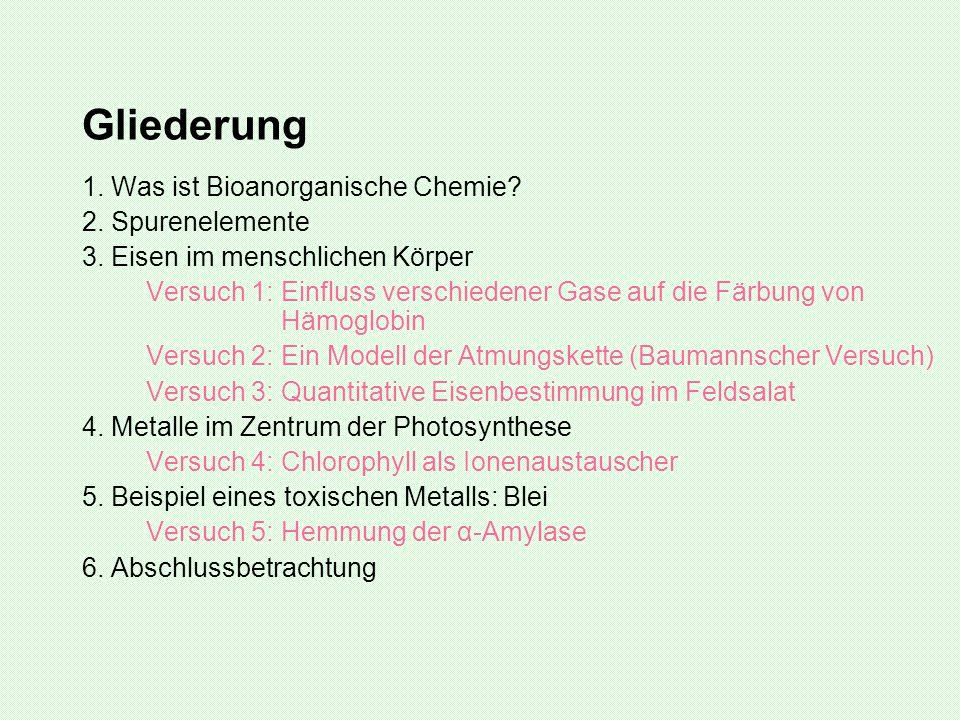 Gliederung 1. Was ist Bioanorganische Chemie 2. Spurenelemente