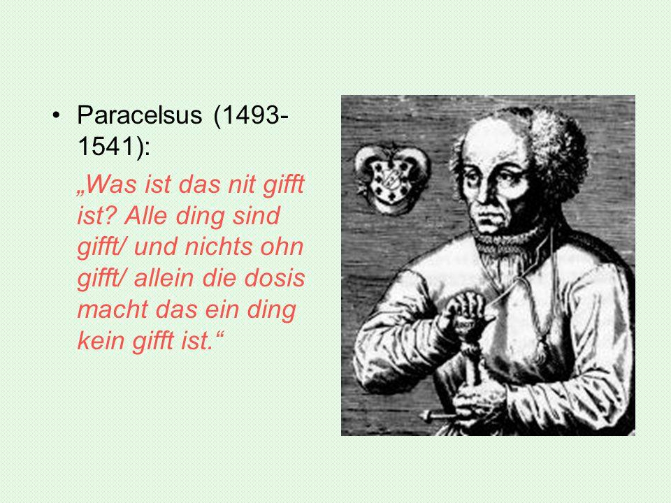 """Paracelsus (1493-1541): """"Was ist das nit gifft ist."""