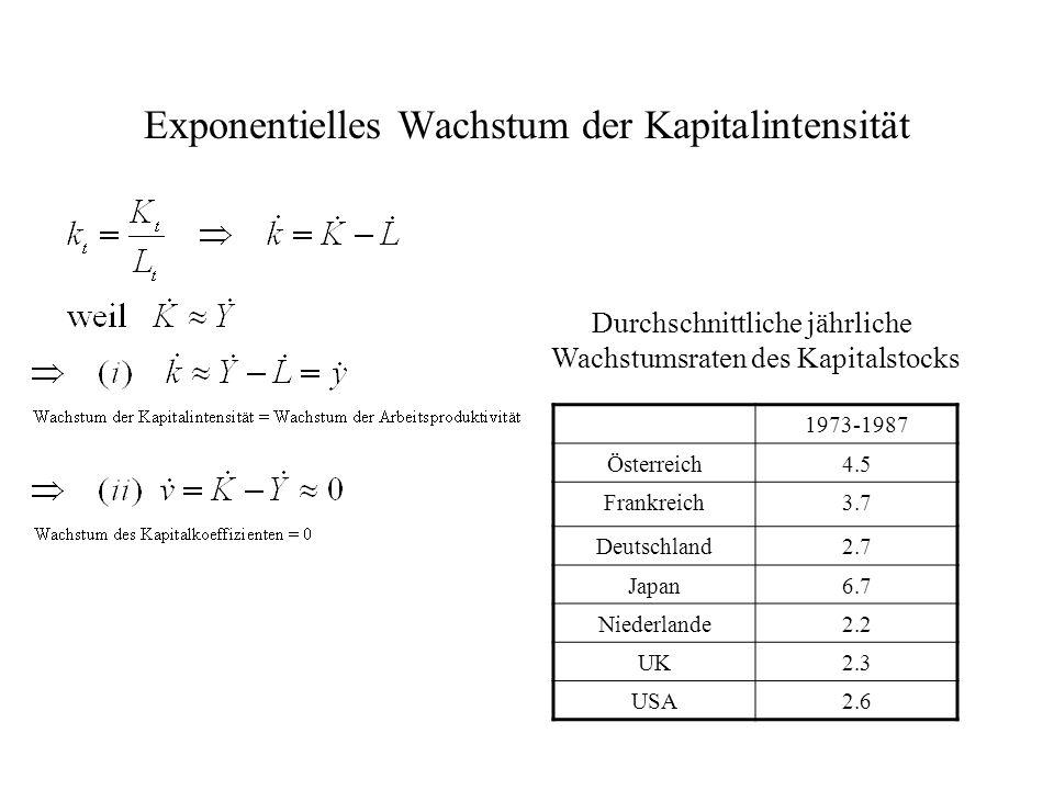 Exponentielles Wachstum der Kapitalintensität