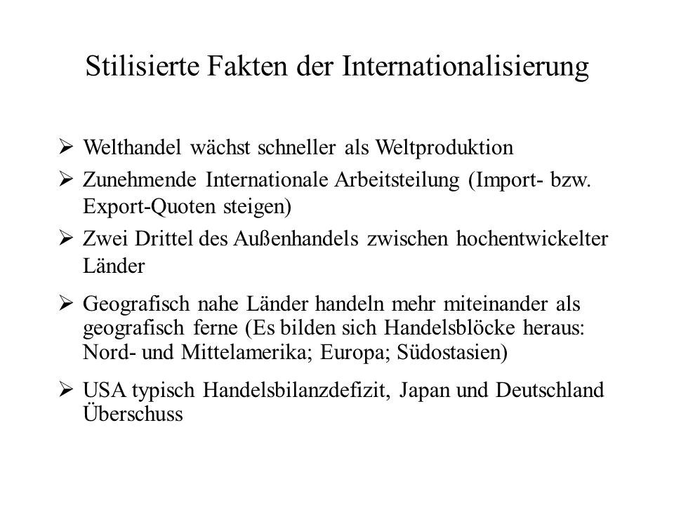 Stilisierte Fakten der Internationalisierung