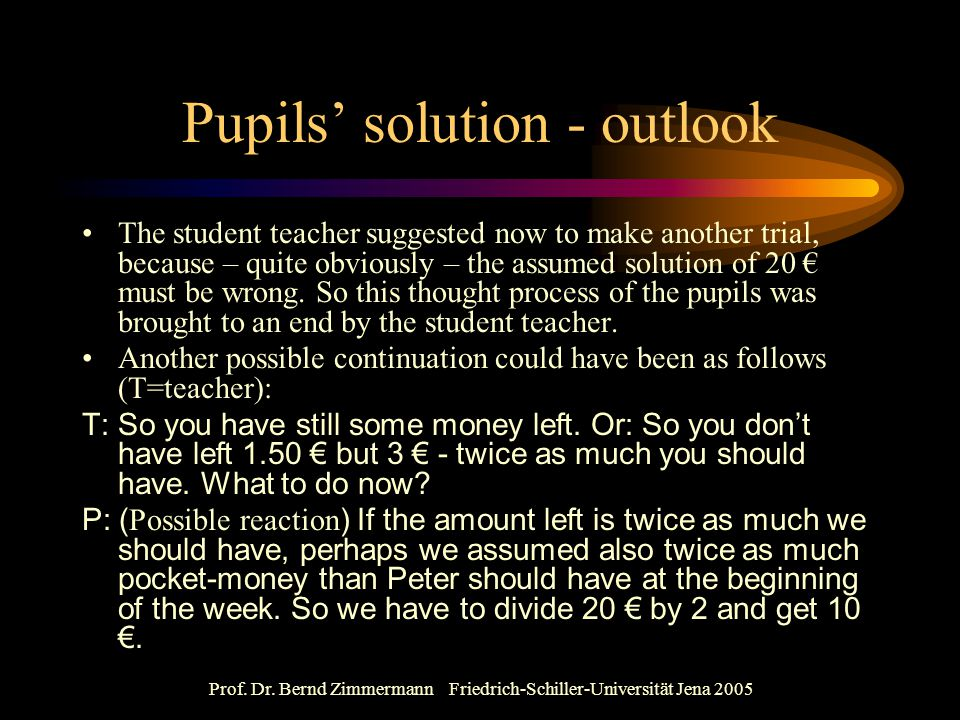 Pupils' solution - outlook