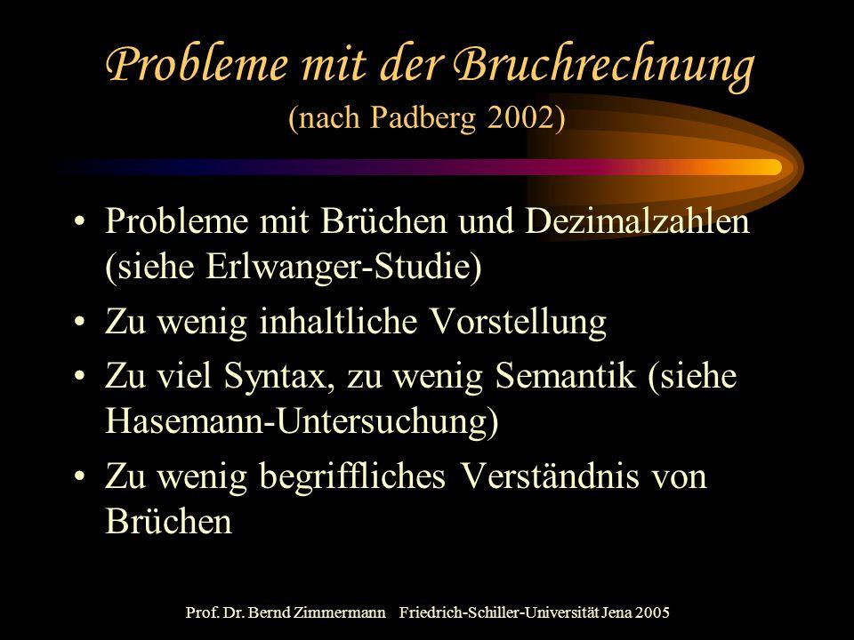 Probleme mit der Bruchrechnung (nach Padberg 2002)