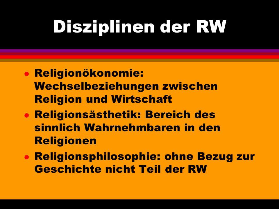 Disziplinen der RW Religionökonomie: Wechselbeziehungen zwischen Religion und Wirtschaft.