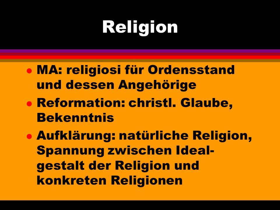 Religion MA: religiosi für Ordensstand und dessen Angehörige