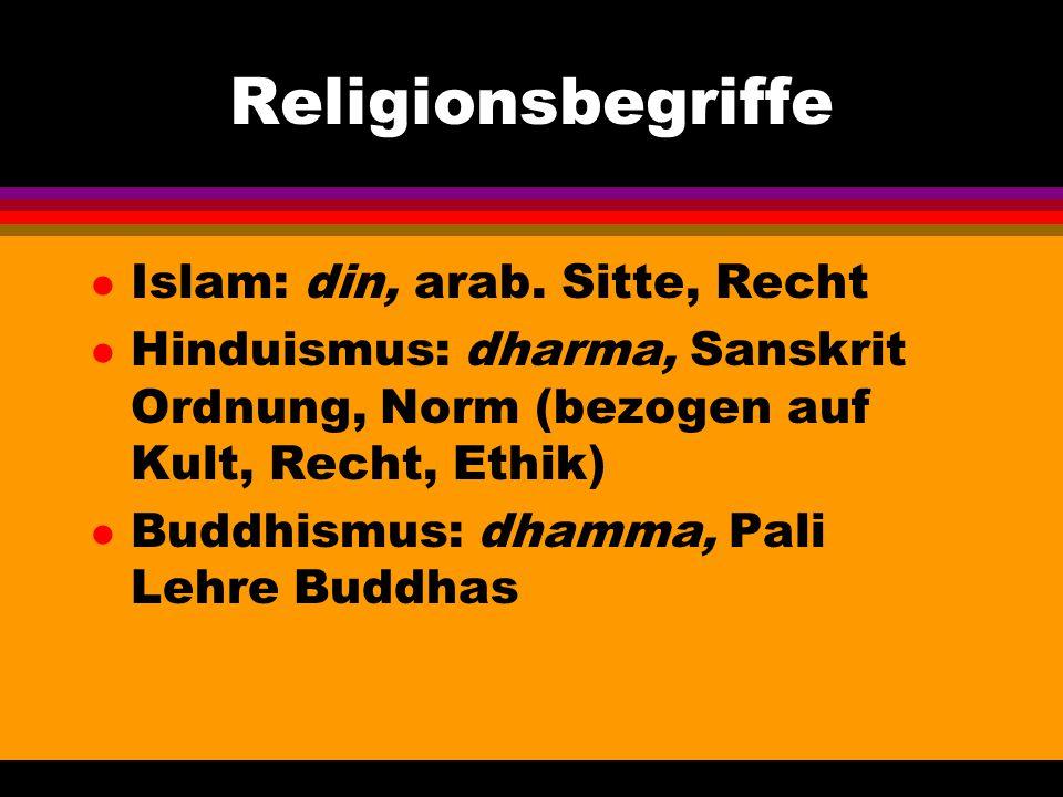 Religionsbegriffe Islam: din, arab. Sitte, Recht