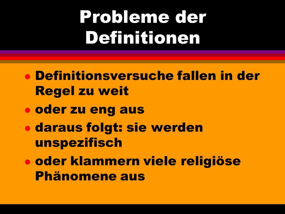 Probleme der Definitionen
