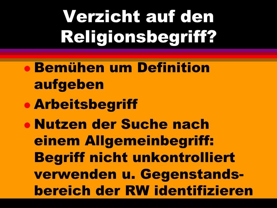 Verzicht auf den Religionsbegriff