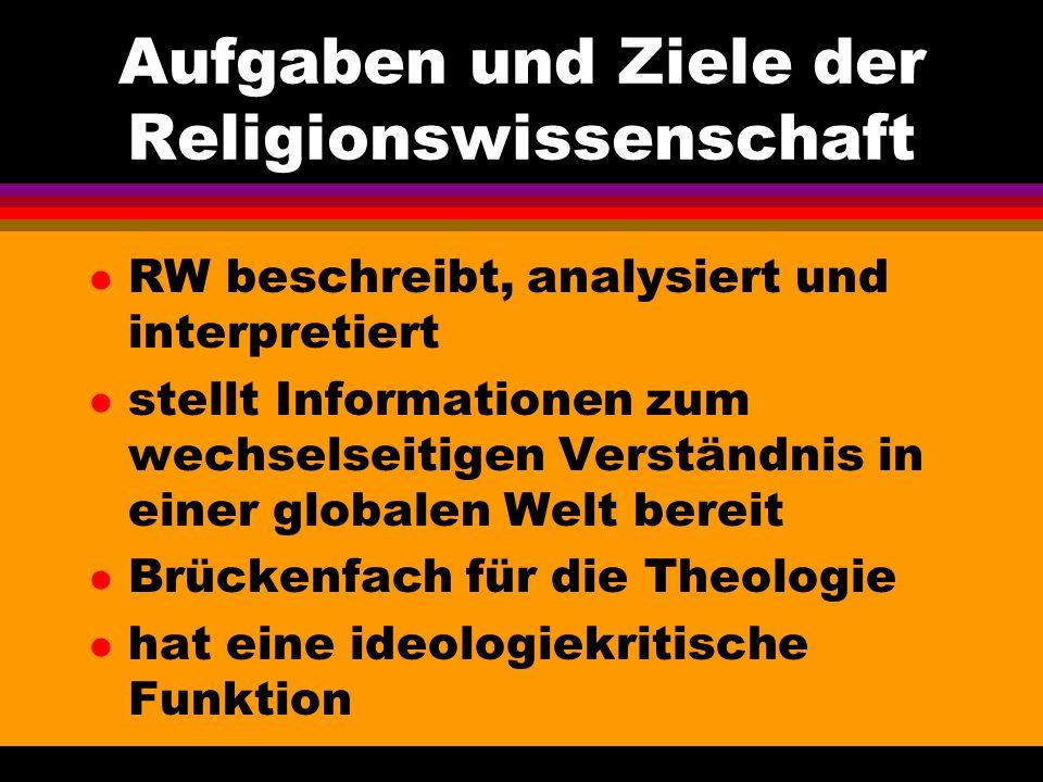 Aufgaben und Ziele der Religionswissenschaft