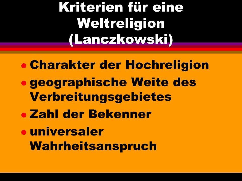 Kriterien für eine Weltreligion (Lanczkowski)