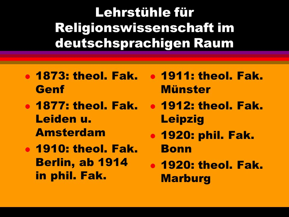 Lehrstühle für Religionswissenschaft im deutschsprachigen Raum