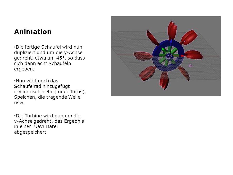 Animation Die fertige Schaufel wird nun dupliziert und um die y-Achse gedreht, etwa um 45°, so dass sich dann acht Schaufeln ergeben.