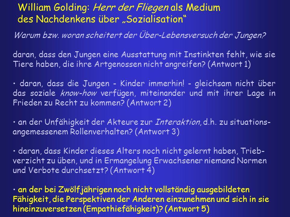 """William Golding: Herr der Fliegen als Medium des Nachdenkens über """"Sozialisation"""