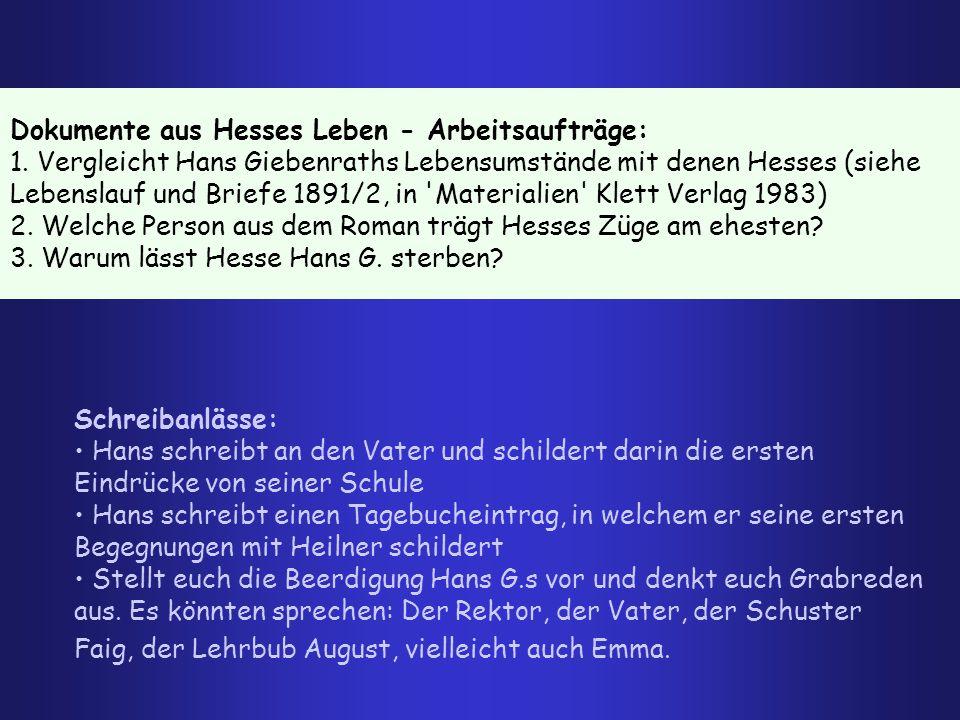 Dokumente aus Hesses Leben - Arbeitsaufträge: