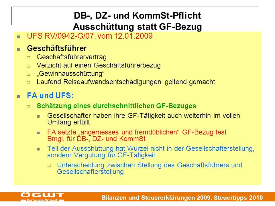 DB-, DZ- und KommSt-Pflicht Ausschüttung statt GF-Bezug