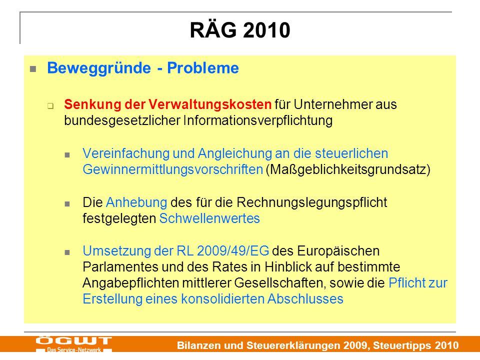 RÄG 2010 Beweggründe - Probleme