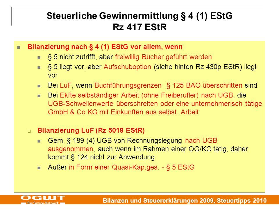 Steuerliche Gewinnermittlung § 4 (1) EStG Rz 417 EStR