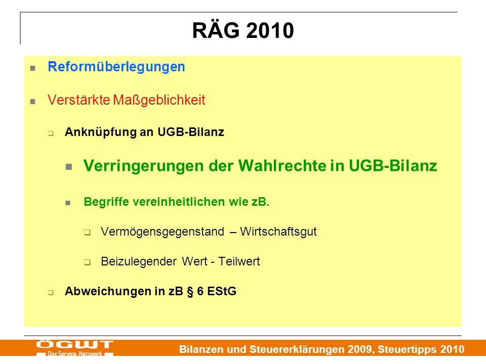 RÄG 2010 Verringerungen der Wahlrechte in UGB-Bilanz
