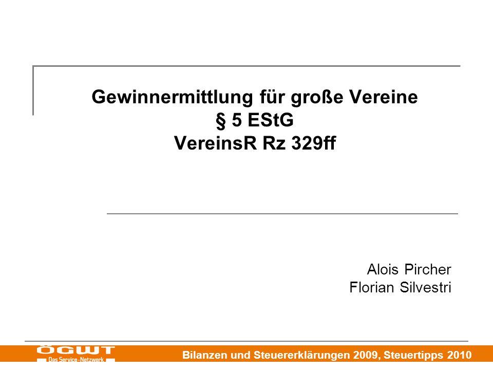 Gewinnermittlung für große Vereine § 5 EStG VereinsR Rz 329ff