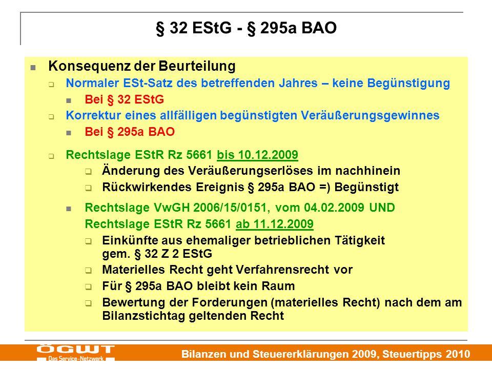 § 32 EStG - § 295a BAO Konsequenz der Beurteilung