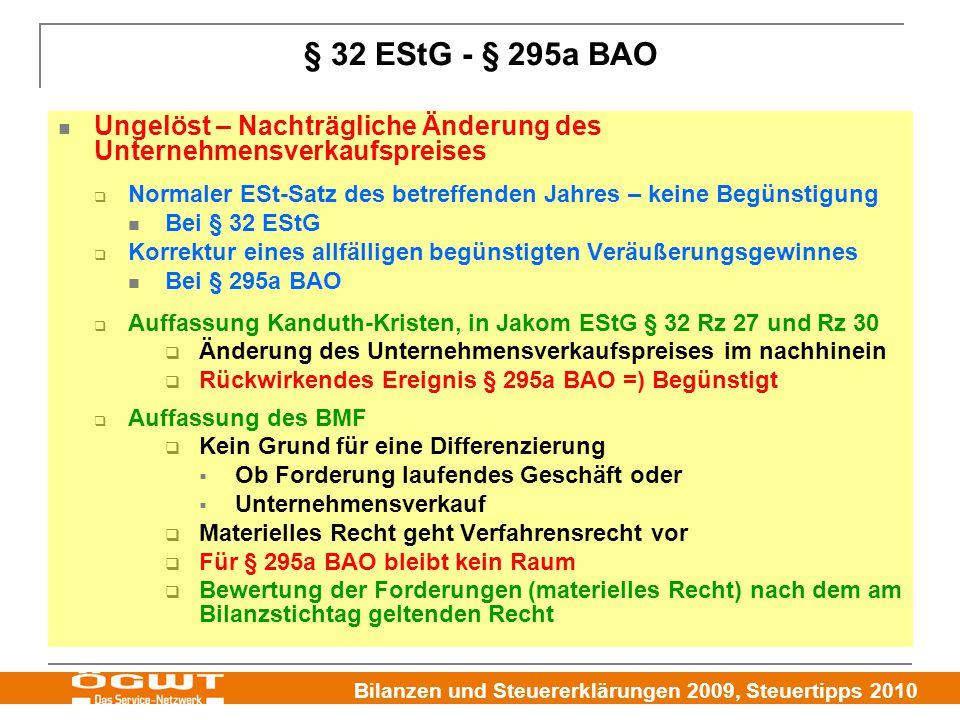 § 32 EStG - § 295a BAO Ungelöst – Nachträgliche Änderung des Unternehmensverkaufspreises.
