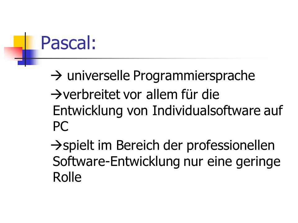 Pascal:  universelle Programmiersprache