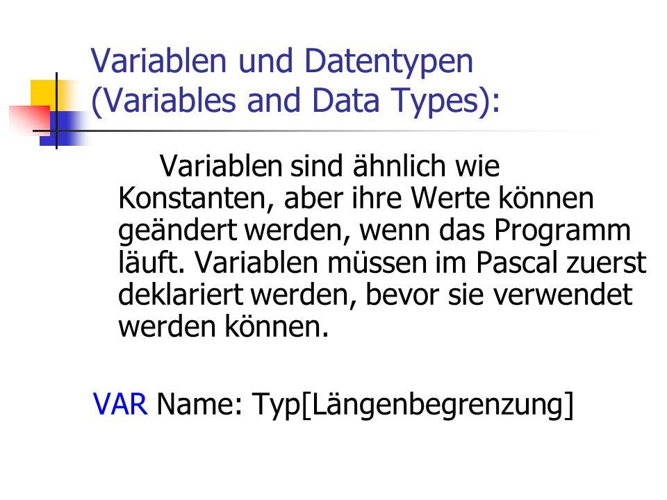 Variablen und Datentypen (Variables and Data Types):