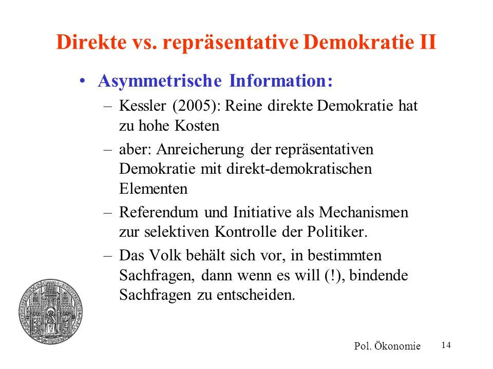 Direkte vs. repräsentative Demokratie II