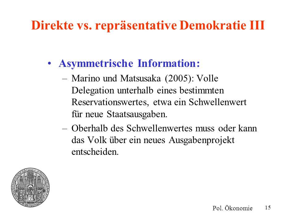 Direkte vs. repräsentative Demokratie III