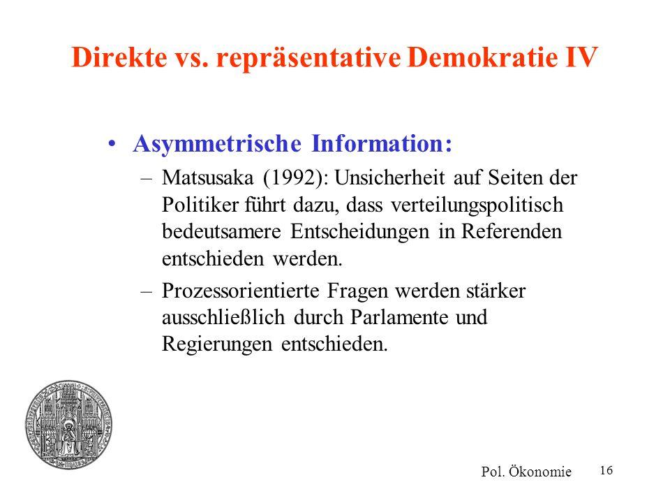 Direkte vs. repräsentative Demokratie IV