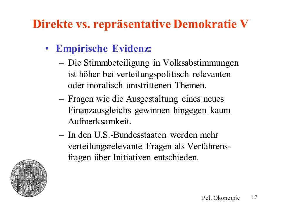 Direkte vs. repräsentative Demokratie V