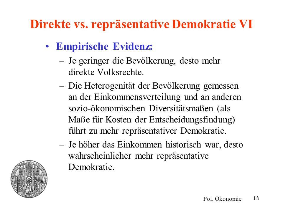 Direkte vs. repräsentative Demokratie VI